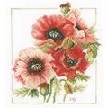 Lanarte Anemone Bouquet Floral Cross Stitch Kit