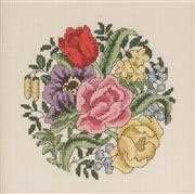 Permin Rose and Tulip Circle Floral Cross Stitch Kit