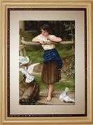 Luca-S Girl Playing with Pigeons Cross Stitch Kit