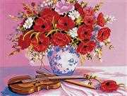 Grafitec Violin and Poppies Tapestry Canvas