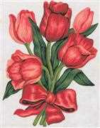 Grafitec Tulips in a Bow Floral Tapestry Canvas