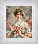 Luca-S The Girl with Roses Cross Stitch Kit
