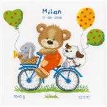 Vervaco Cycling Bear Sampler Birth Sampler Cross Stitch Kit