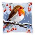 Vervaco Red Robin Cushion Christmas Cross Stitch Kit
