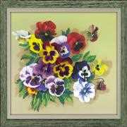 RIOLIS Pansies Satin Stitch Floral Embroidery Kit
