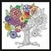 Design Works Crafts Zenbroidery - Tree Floral Embroidery Fabric