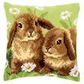 Vervaco Two Rabbits Cushion Cross Stitch Kit