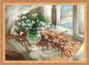 RIOLIS Willow and Snowdrops Floral Cross Stitch Kit