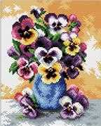 Needleart World Vase of Pansies Floral No Count Cross Stitch Kit