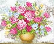 Needleart World Vase of Flowers Floral No Count Cross Stitch Kit