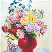 Needleart World Cabbage Roses in a Vase No Count Cross Stitch Kit