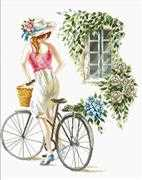 Needleart World Bicycle Girl No Count Cross Stitch Kit