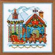 RIOLIS Cabin with Sleigh Christmas Cross Stitch Kit