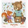 Vervaco Bear and Squirrel Sampler Birth Sampler Cross Stitch Kit