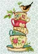 Dimensions Stacked Tea Cups Cross Stitch Kit