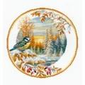 RIOLIS Plate with Bluetit Christmas Cross Stitch Kit