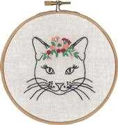 Permin Cat with Flowers Embroidery Kit