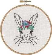Permin Rabbit with Flowers Embroidery Kit