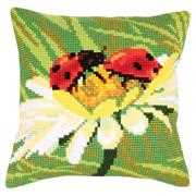 Collection D'Art Ladybird on Camomile Floral Cross Stitch Kit