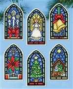 Design Works Crafts Stained Glass Ornaments Christmas Cross Stitch Kit