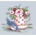Luca-S Bird and Teacup on Aida Floral Cross Stitch Kit