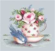 Luca-S Bird and Teacup Floral Cross Stitch Kit
