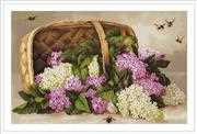 Luca-S Basket of Lilacs - Petit Point Floral Tapestry Kit