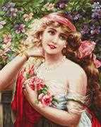 Luca-S Young Lady with Roses - Petit Point Tapestry Kit