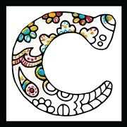Design Works Crafts Zenbroidery - Letter C Embroidery Fabric