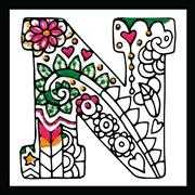 Design Works Crafts Zenbroidery - Letter N Embroidery Fabric