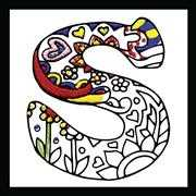 Design Works Crafts Zenbroidery - Letter S Embroidery Fabric