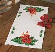 Permin Poinsettia with Candles Runner Christmas Cross Stitch Kit