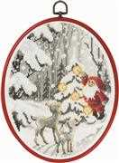 Permin Santa in the Forest Christmas Cross Stitch Kit