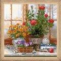 RIOLIS Crocuses on Windowsill Floral Cross Stitch Kit