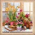 RIOLIS Teddy on the Windowsill Floral Cross Stitch Kit