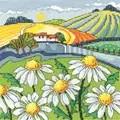 Heritage Daisy Landscape - Aida Cross Stitch Kit