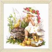 RIOLIS Girl with Ducklings Cross Stitch Kit