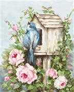 Luca-S Bird House with Roses Cross Stitch Kit