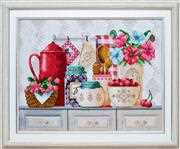 VDV Shelf with Poppies Floral Embroidery Kit