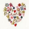 Bothy Threads Sweet Heart Card Wedding Sampler Cross Stitch Kit
