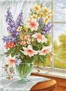 Luca-S Flowers at the Window Floral Cross Stitch Kit