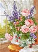 Luca-S Flowers by the Window Floral Cross Stitch Kit