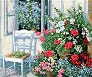 Luca-S Terrace with Flowers Floral Cross Stitch Kit