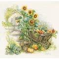 Lanarte Wheelbarrow and Sunflowers Cross Stitch Kit