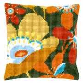 Vervaco Retro Flowers Cushion Floral Cross Stitch Kit
