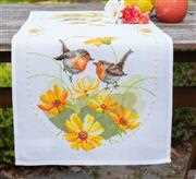 Vervaco Robins and Flowers Runner Cross Stitch Kit