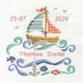 DMC Sail Boat Baby Birth Sampler Cross Stitch Kit