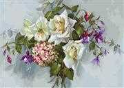 Luca-S Bouquet with Roses Floral Cross Stitch Kit