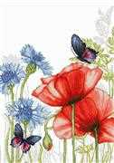 Luca-S Poppies and Butterflies Cross Stitch Kit