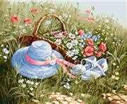 Luca-S Meadow with Poppies Floral Cross Stitch Kit